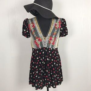 Free People Floral Button Down Puff Sleeve Dress